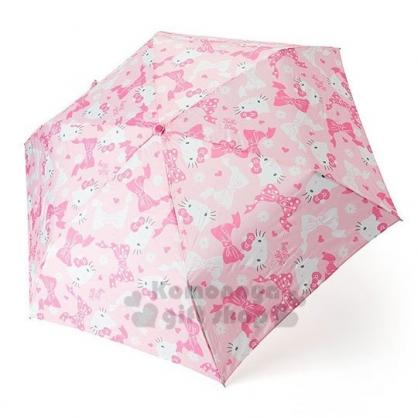 〔小禮堂〕Hello Kitty 頭型柄折疊傘《粉白.蝴蝶結滿版》雨傘.折傘.雨具