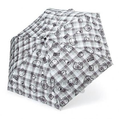 〔小禮堂〕Hello Kitty 頭型柄折疊傘《黑灰.格紋滿版》雨傘.折傘.雨具