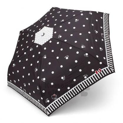 〔小禮堂〕Hello Kitty 變色折疊雨陽傘《黑.愛心滿版》雨傘.折傘.雨具
