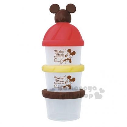 〔小禮堂〕迪士尼 米奇 日製造型蓋塑膠三層奶粉罐《棕紅》奶粉盒.食物盒.餅乾盒