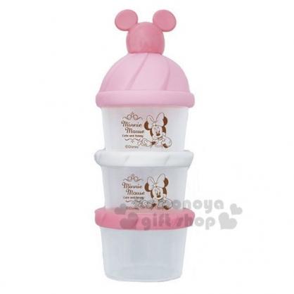 〔小禮堂〕迪士尼 米妮 日製造型蓋塑膠三層奶粉罐《粉白》奶粉盒.食物盒.餅乾盒