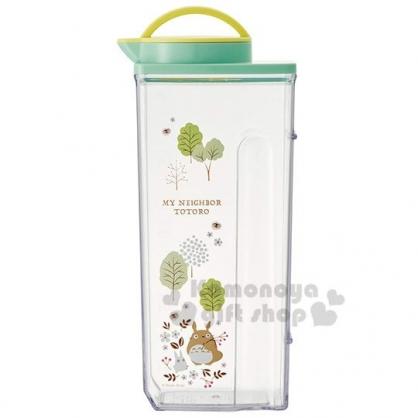 〔小禮堂〕宮崎駿Totoro龍貓 日製透明塑膠無把拿蓋冷水壺《綠蓋.花草》2.2L.茶壺