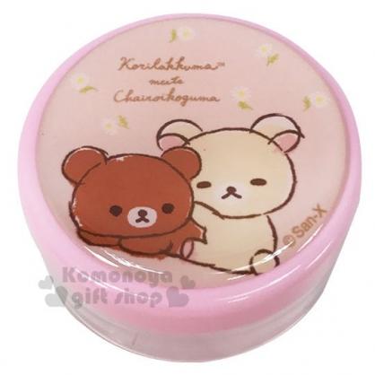 〔小禮堂〕懶懶熊 拉拉熊 圓形透明塑膠乳液罐《粉.坐姿》30g.空盒.空罐.乳液盒