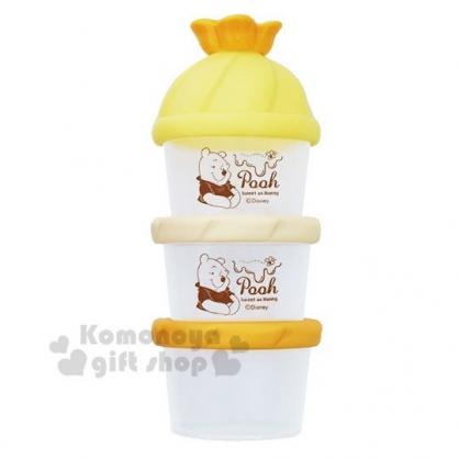 〔小禮堂〕迪士尼 小熊維尼 日製造型蓋塑膠三層奶粉罐《橘黃》奶粉盒.食物盒.餅乾盒