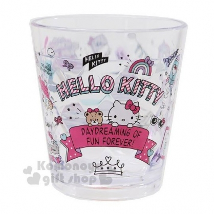 〔小禮堂〕Hello Kitty 菱格紋無把透明塑膠小水杯《粉.插圖》270ml.漱口杯.塑膠杯