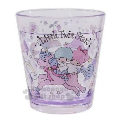 〔小禮堂〕雙子星 菱格紋無把透明塑膠小水杯《紫.星星手杖》270ml.漱口杯.塑膠杯