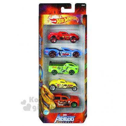 〔小禮堂〕MARVEL漫威 迷你塑膠迴力車組《5入.紅盒》小汽車.玩具車.兒童玩具
