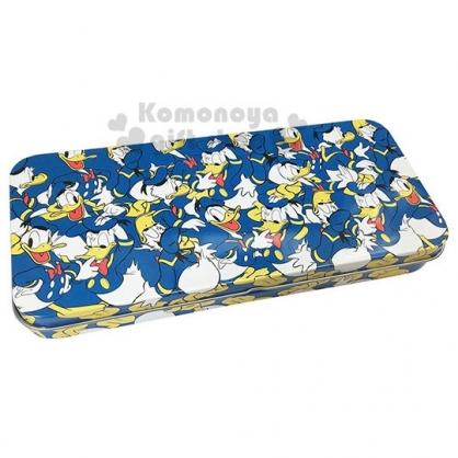 〔小禮堂〕迪士尼 唐老鴨 日製掀蓋鐵製鉛筆盒《藍白.滿版》鐵筆盒.筆袋
