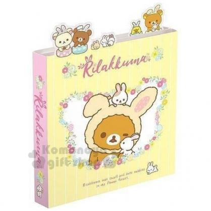 〔小禮堂〕懶懶熊 拉拉熊 日製造型多折自黏便利貼本《黃粉.兔裝大臉》N次貼.標籤貼