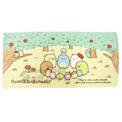 〔小禮堂〕角落生物 純綿割絨浴巾《綠黃.樹林圍圈》60x120cm.毛巾.沙灘巾