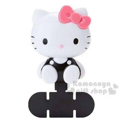 〔小禮堂〕Hello Kitty 造型塑膠車用手機架《粉黑.坐姿》置物架.手機配件