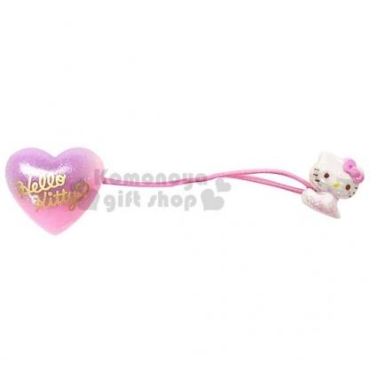 〔小禮堂〕Hello Kitty 壓克力愛心造型彈力髮束《粉紫.坐姿》髮圈.髮飾