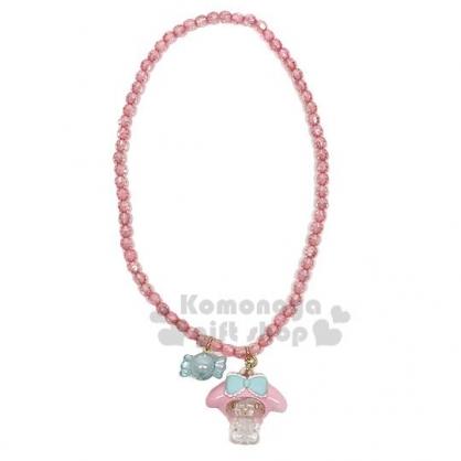 〔小禮堂〕美樂蒂 兒童壓克力造型珠珠彈性串珠項鍊《粉藍》首飾.頸鍊