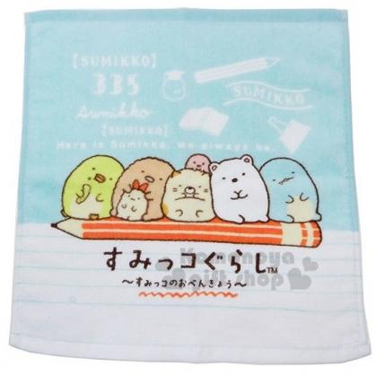 〔小禮堂〕角落生物 純棉割絨方形毛巾《藍白.鉛筆》34x35cm.方巾
