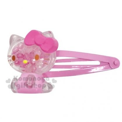 〔小禮堂〕Hello Kitty 壓克力造型珠珠鐵製髮夾《粉》鴨嘴夾.瀏海夾.髮飾