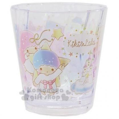 〔小禮堂〕雙子星 波浪紋無把透明塑膠小水杯《粉藍》270ml.漱口杯.塑膠杯