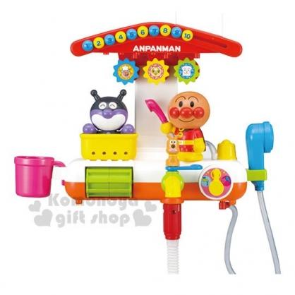 〔小禮堂〕麵包超人 電動蓮蓬頭水車洗澡玩具組《橘紅》兒童玩具
