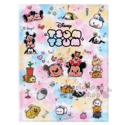 〔小禮堂〕迪士尼TsumTsum 雙開式文件夾《A4.粉藍.亮片流沙》資料夾.L夾.檔案夾