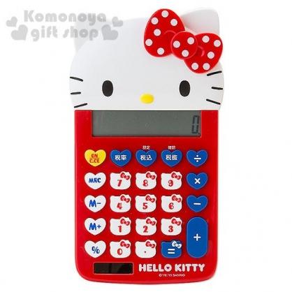 〔小禮堂〕Hello Kitty 造型計算機《白紅.點點蝴蝶結.大臉》12位元