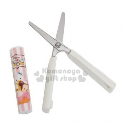 〔小禮堂〕迪士尼 TsumTsum 筆型攜帶式剪刀《粉米.麵包》事務剪.事務用品