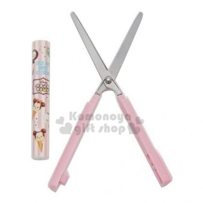 〔小禮堂〕迪士尼 TsumTsum 加長型筆型攜帶式剪刀《粉米.甜筒大臉》事務剪.事務用品