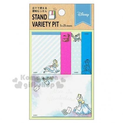 〔小禮堂〕迪士尼 愛麗絲 日製自黏便利貼組《藍.跪姿》N次貼.書籤貼.標籤貼