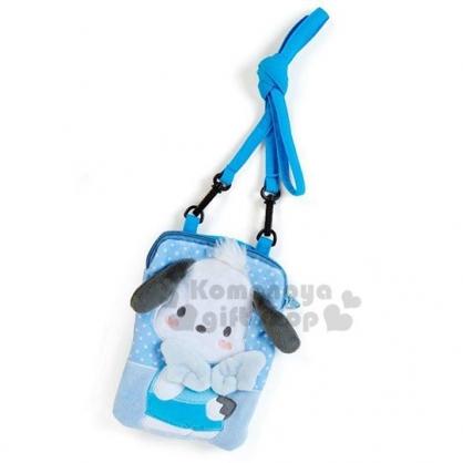 〔小禮堂〕帕恰狗 造型絨毛斜背觸控手機包《藍白.翅膀》斜背包.側背包.相機包