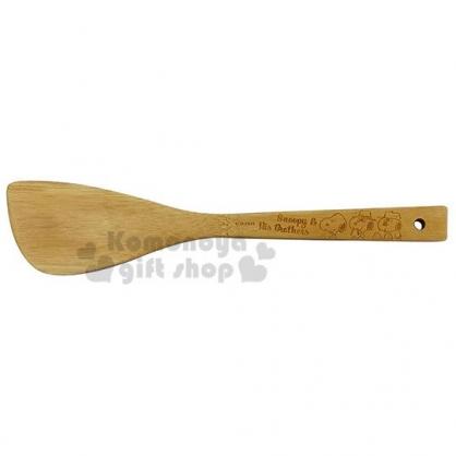 〔小禮堂〕史努比 日製可掛式天然竹鍋鏟《棕.朋友排坐》木鏟.煎匙.炒飯匙