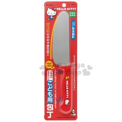 〔小禮堂〕Hello Kitty 日製安全菜刀《紅銀.拿蘋果》水果刀.安全刀