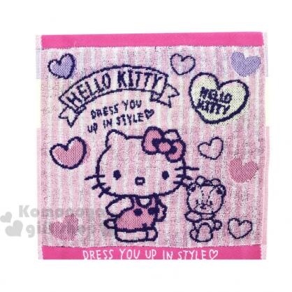 〔小禮堂〕Hello Kitty 純棉無捻紗小方巾《粉藍.條紋愛心》25x25cm.手帕.丸真毛巾