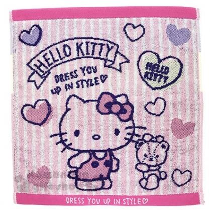 〔小禮堂〕Hello Kitty 純棉無捻紗方形毛巾《粉藍.條紋愛心》34x36cm.手帕.丸真毛巾