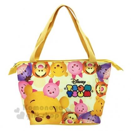 〔小禮堂〕迪士尼TsumTsum 小熊維尼 尼龍手提袋側背袋《黃.大臉》便當袋.野餐袋