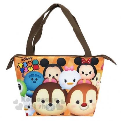 〔小禮堂〕迪士尼TsumTsum 奇奇蒂蒂 尼龍手提袋側背袋《橘棕.大臉》便當袋.野餐袋