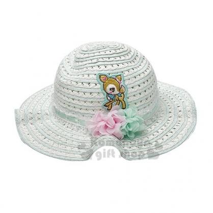 〔小禮堂〕哈妮鹿 兒童藤編圓頂草帽《白綠》編織帽.兒童帽.遮陽帽