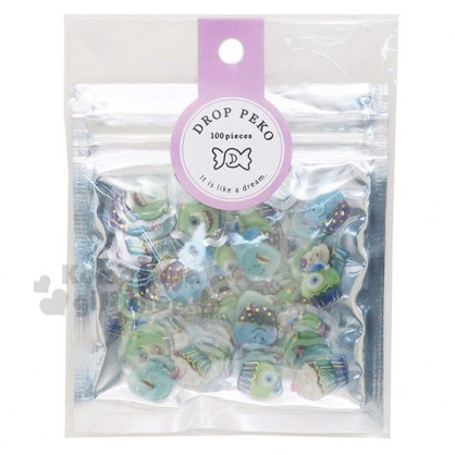 〔小禮堂〕迪士尼 怪獸大學 造型燙金果凍貼紙夾鏈袋組《藍綠》裝飾貼.黏貼用品.包裝禮物