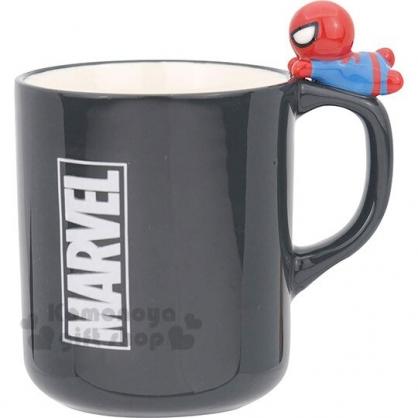 〔小禮堂〕漫威英雄 Marvel蜘蛛人 造型陶瓷馬克杯《深灰.杯邊玩偶》260ml.茶杯.咖啡杯