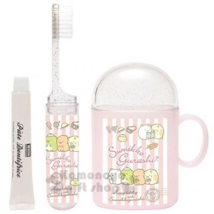 〔小禮堂〕角落生物 日製杯裝旅行牙刷組《粉.排坐郵戳》盥洗用品.口腔清潔