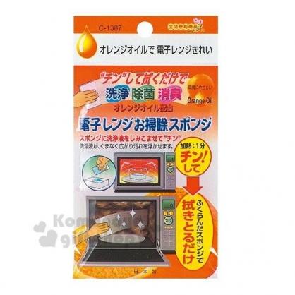 〔小禮堂〕日本不動化學 日製方形微波爐清潔海綿《橘袋裝》菜瓜布.廚房清潔