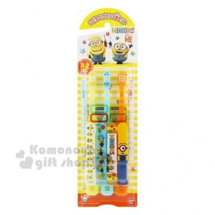 〔小禮堂〕小小兵 日製兒童牙刷組《3入.黃.星星》口腔清潔.盥洗用品