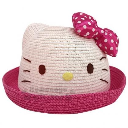 〔小禮堂〕Hello Kitty 兒童造型藤編圓頂帽《桃邊.大臉》編織帽.草帽.2019夏日兒童服飾
