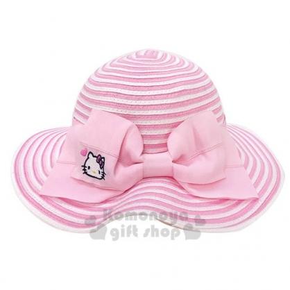 〔小禮堂〕Hello Kitty 可折疊兒童藤編圓頂草帽《粉.緞帶》編織帽.2019夏日兒童服飾