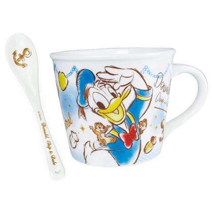 〔小禮堂〕迪士尼 唐老鴨 陶瓷馬克杯湯匙組《藍白.奇奇蒂蒂》咖啡杯.茶杯.精緻盒裝