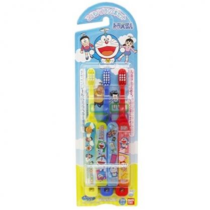 〔小禮堂〕哆啦A夢 日製學童牙刷組《3入.紅黃藍.朋友.適3歲以上.附貼紙》