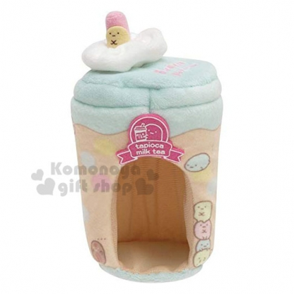 〔小禮堂〕角落生物 迷你飲料杯造型絨毛娃娃屋《米綠》飾品盒.絨毛收納盒