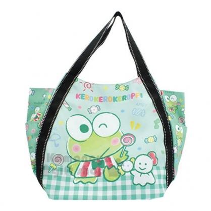 〔小禮堂〕大眼蛙 帆布托特包側背袋《L.綠.拿棒棒糖》側背包.帆布袋.媽媽包