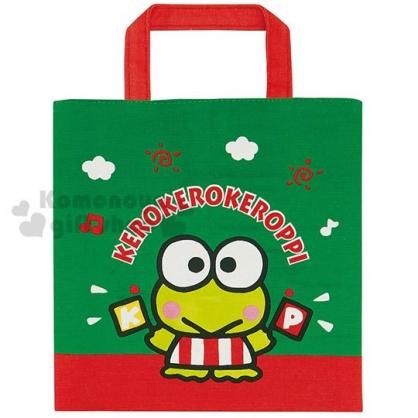 〔小禮堂〕大眼蛙 迷你方形棉質手提袋《綠紅.招手》便當袋.外出袋