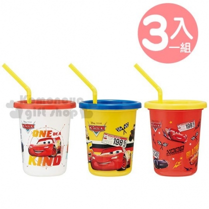 〔小禮堂〕迪士尼 閃電麥坤 日製塑膠吸管杯組附蓋《3入.紅黃.滿版》320ml.飲料杯.派對杯