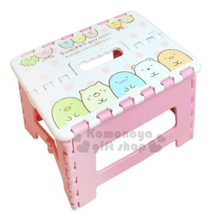 〔小禮堂〕角落生物 攜帶式塑膠折疊椅《S.粉白.排坐》矮凳.板凳.野餐椅