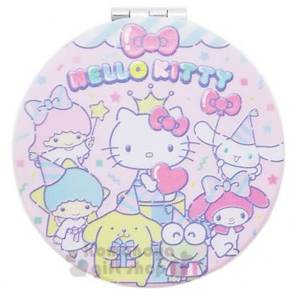 〔小禮堂〕Sanrio大集合 塑膠圓形雙面鏡《粉綠.慶祝》放大鏡.隨身鏡.折鏡