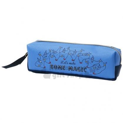 〔小禮堂〕迪士尼 阿拉丁 皮質拉鍊筆袋《藍.大臉滿版》收納包.化妝包.鉛筆盒